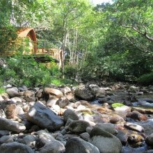 The bubbling brook at RiverBed Lodges