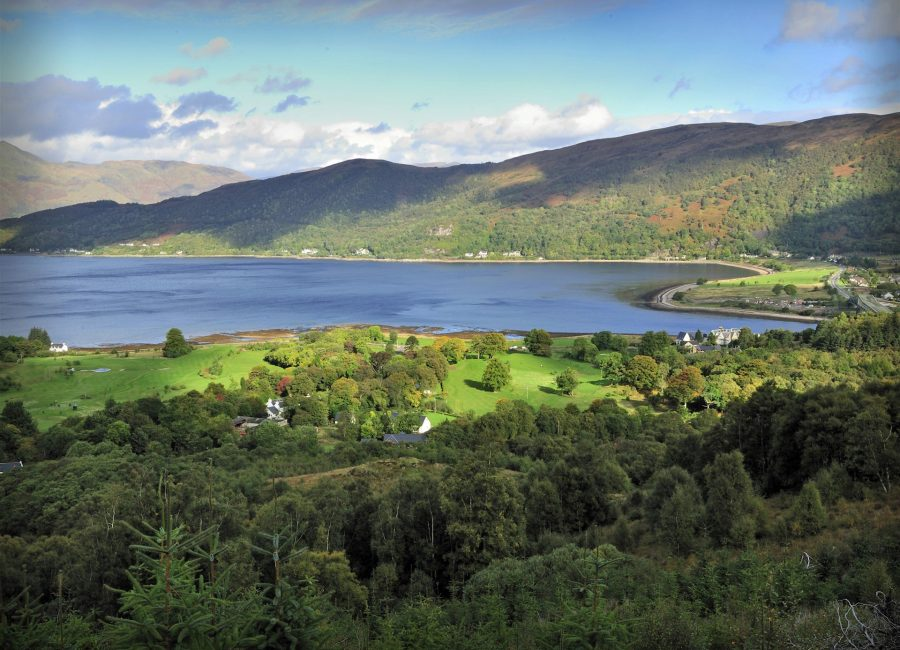 Looking down over the Glencoe Activities estate and golf course